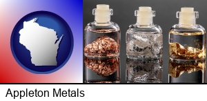 Appleton, Wisconsin - gold, silver, and copper nuggets