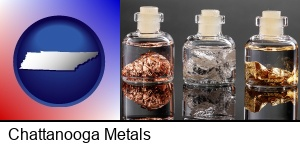Chattanooga, Tennessee - gold, silver, and copper nuggets