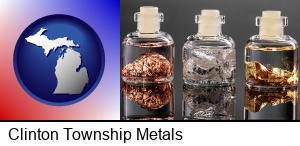 Clinton Township, Michigan - gold, silver, and copper nuggets