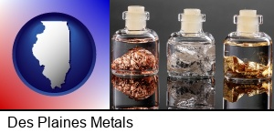 Des Plaines, Illinois - gold, silver, and copper nuggets