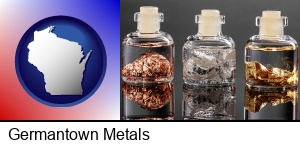 Germantown, Wisconsin - gold, silver, and copper nuggets