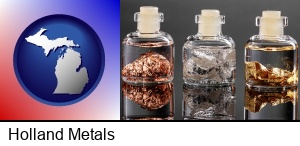 Holland, Michigan - gold, silver, and copper nuggets