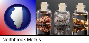 Northbrook, Illinois - gold, silver, and copper nuggets