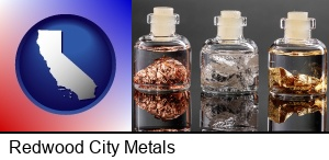 Redwood City, California - gold, silver, and copper nuggets