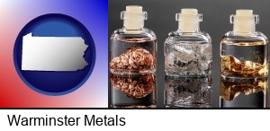 Warminster, Pennsylvania - gold, silver, and copper nuggets